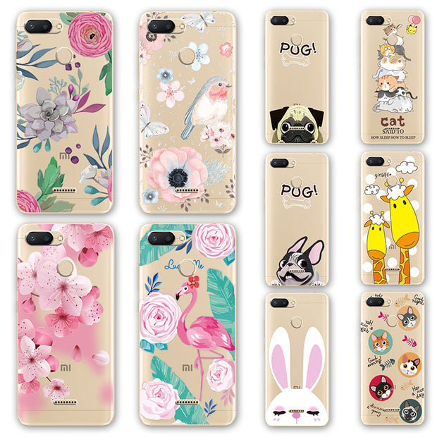 3D Emboss Flamingo Phone Case Bags For Xiaomi Redmi 6 Cartoon Peach Lace Redmi 6A Silicone Back Cover Case For Xiomi Redmi 6 Pro