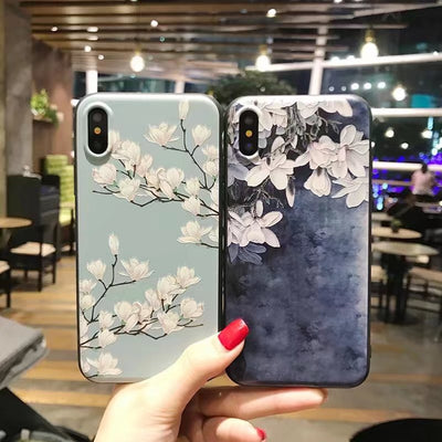 3D Print Emboss Flower Phone Case For IPhone XS Max 5 5S Soft Silicon Cover For IPhone 6 6S 7 8 X 10 XR Cases For IPhone 8 Case