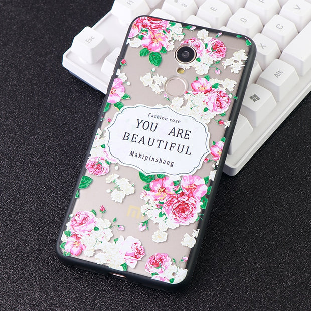 3D Printed New Phone Cases For Xiaomi Redmi Note 4 5 6X A Plus Cute Animals Case Floral Silicone Fitted Phone Covers Accessories