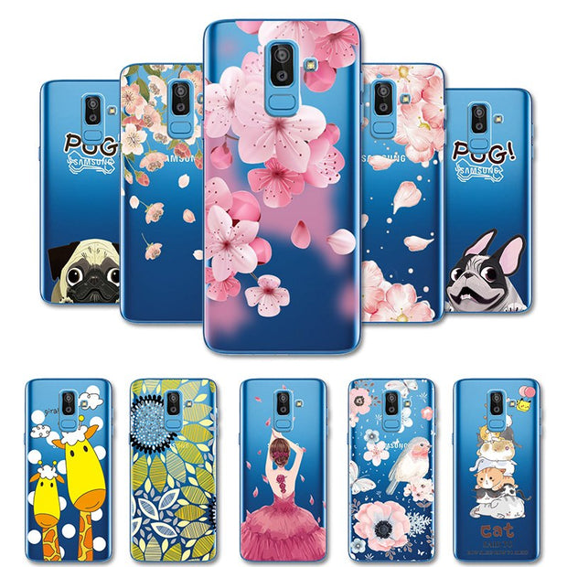"3D Relief Lace Soft Silicone TPU Case For Samsung J8 2018 J810 J810F J800 SM-J810F Shell Capa For Samsung J800F 6.0"" Coque Bags"