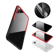 4 Colors Mobile Phone Back Cover Case Triple Protective Cover Tempered Glass Hard Case Soft Plastic Frame For Iphone X 1set J3