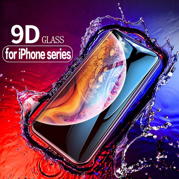 9D Case For IPhone XR Glass Screen Protector Case For Apple IPhone XS Max XR X 9D Tempered Glass Protective Curved Edge Film 9H