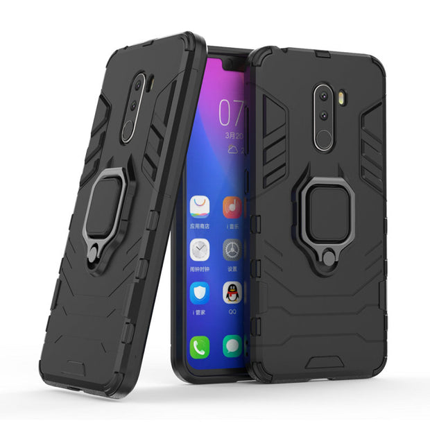 Armored Mobile Phone Case Millet Pocophone F1 Soft Rubber Rigid TPU PC Hybrid Shockproof Full Protection Armor Shell For Poco F1