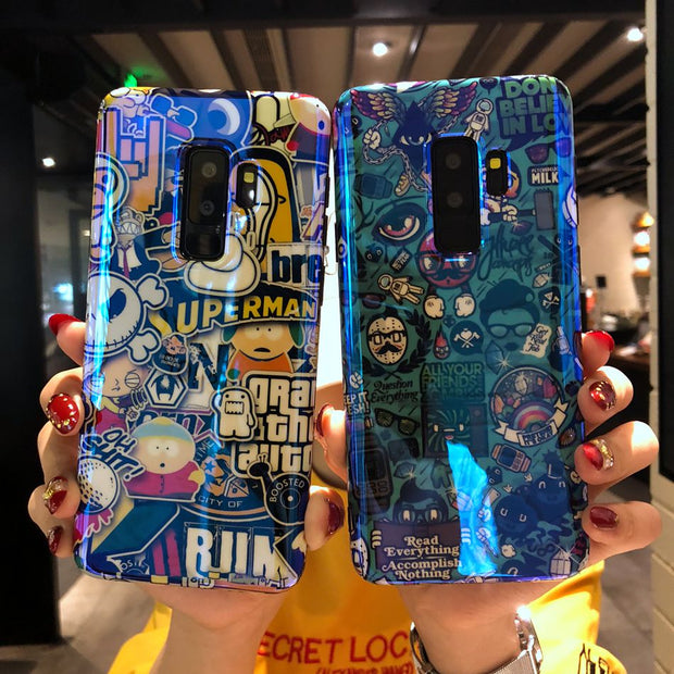 Axbety For Samsung S9 Colorful Graffiti Blu-ray Case For Galaxy S8 S9 Plus Note 8 Fashion Art Letter Print Soft TPU Back Cover