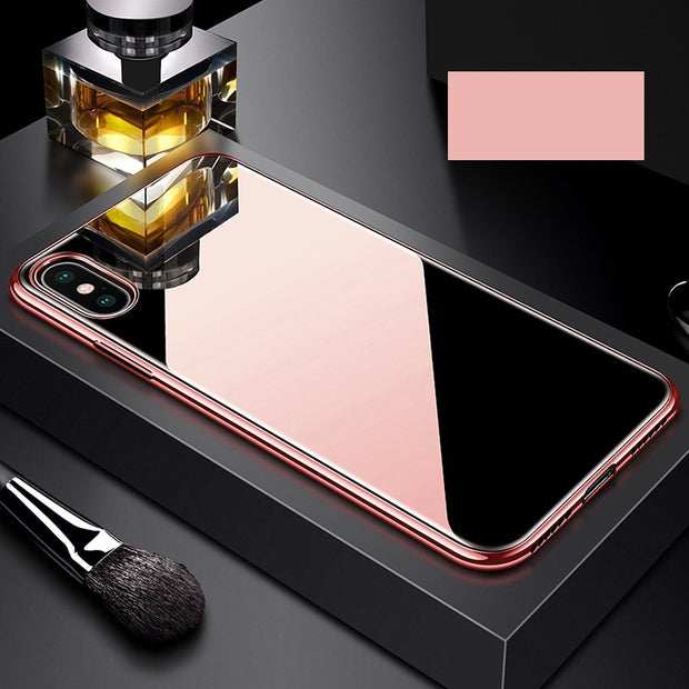 BFOLLOW Luxury Mirror Case For IPhone X 10 Tempered Glass Back + TPU Plating Frame Cover Coque Fundas
