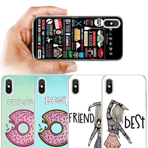 new product d7bb7 c8183 BINYEAE Best Friend BFF Silicone Case Cover For IPhone XS Max XR X 7 8 6 6S  Plus X 5 5S SE 5C 7Plus 8Plus 7+