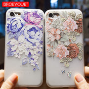 BROEYOUE Case For IPhone 5 5S SE 6 6S 7 8 Plus X 3D Relief Flower Soft Silicone TPU Case For IPhone 6 6S Phone Cases Fundas Capa