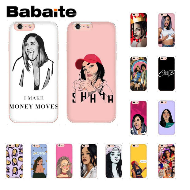 new product 2e182 08a72 Babaite American Rap Singer Cardi B Phone Case Cover Shell For IPhone 6S  6plus 7 7plus 8 8Plus X Xs MAX 5 5S XR 10 Fundas Capa