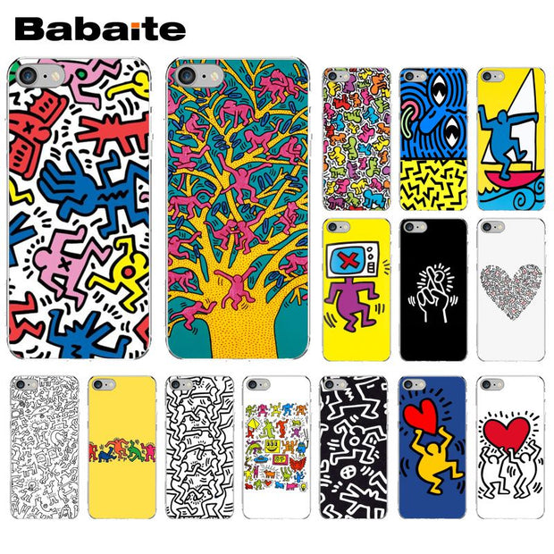 Babaite Keith Haring Art Transparent Tpu Soft Silicone Phone Cover For Iphone 5 5sx 6 7 7plus 8 8plus X Xs Max Xr