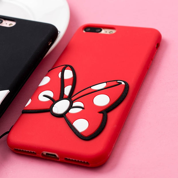 Beira Mickey Minnie Soft Silicon Phone Case For Apple Iphone X 5s 6s 6s Plus 7 Plus 8 Plus Rubber Protective Cover Couqe Strap