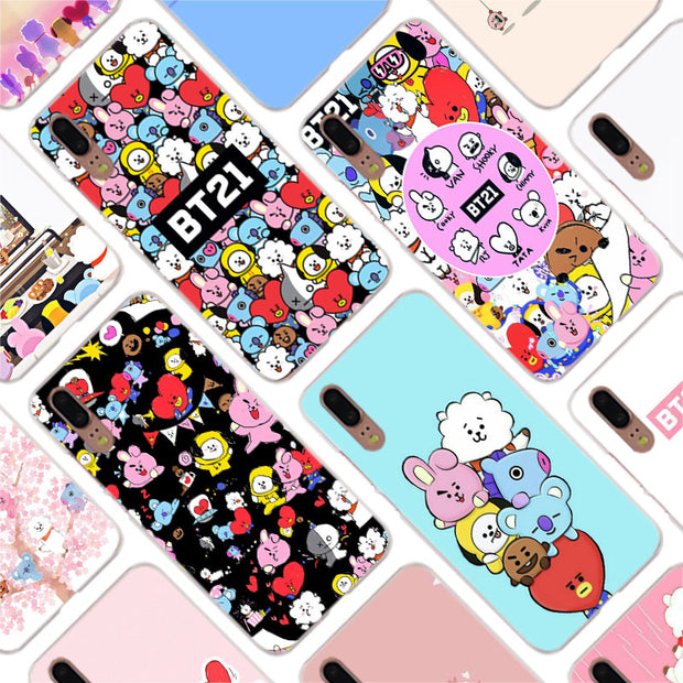 Binful BTS BT21 Fashion Clear Cover Case For Huawei P30 P20 Mate20 Pro P8 P9 P10 Mate10 Lite Mini 2017 Plus P Smart Hot Cover