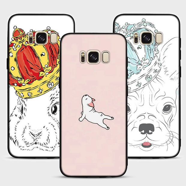 Boston Terrier Pug Dog Phone Case For Samsung Galaxy Note 9 8 S8 S9 Plus S7 Soft Silicone Black Case For Galaxy Note 9 8