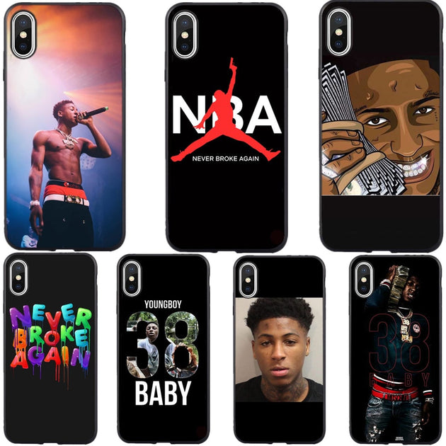 buy online b9e6b 5a78c Broke Again Nba Youngboy 38 Baby Rap Hip Hop Music Fan Silicone Phone Case  Cover For IPhone XS MAX XR 7 8 Plus 6 6sPlus 5 5S SE