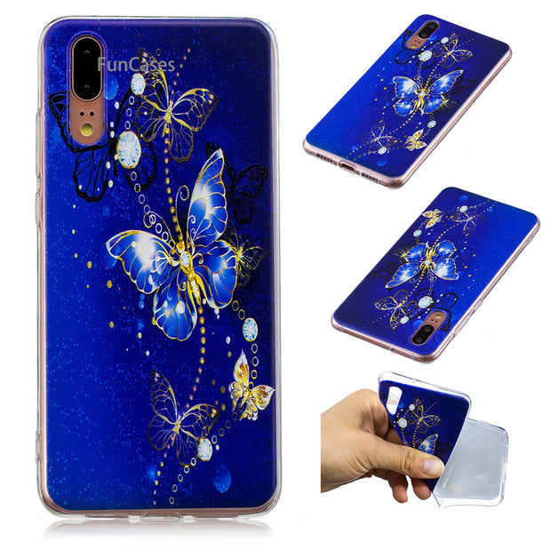 Butterfly Phone Case Sfor Hoesje Huawei P20 Soft Silicone Phone Case H Copper Cases