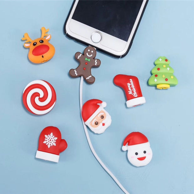 Cable Protector Cable Bite Novelty Christmas Protector For IPhone Deer Bite Santa Claus Sock Doll Winder Phone Holder Accessory