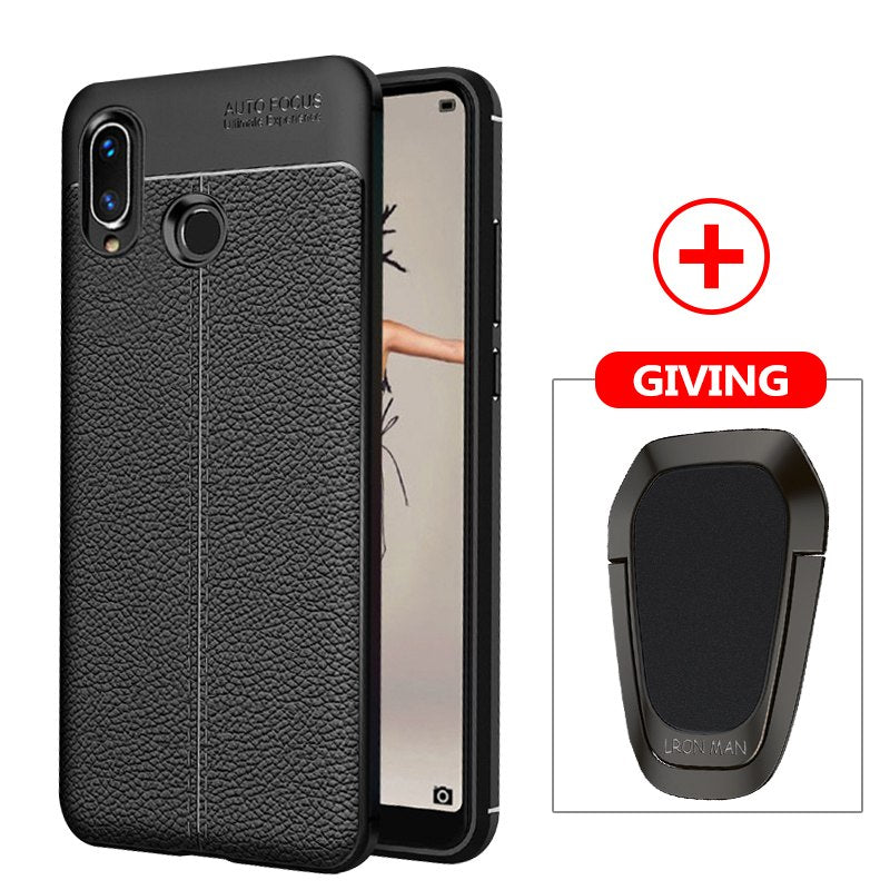 Carbon Fiber Case For Huawei Y9 2019 Y7 Y6 Y5 Prime 2018 P Smart Magnetic  Ring Car Holder Cover For Huawei Honor 10 9 Lite 8X 7A