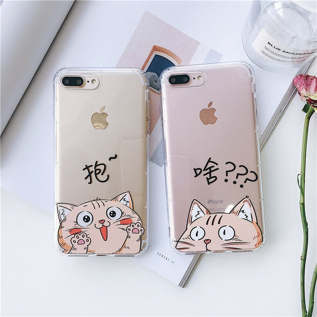 new product 85694 890a2 Cartoon Couples Fat Cat Hug Me Phone Case For IPhone X XR XS MAX Case For  Iphone X 6S 7 8 Plus Soft TPU Cover Clear Couple Case