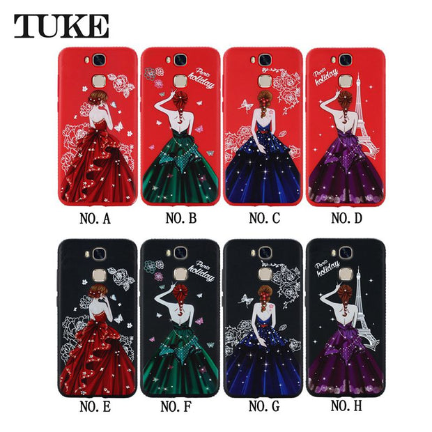 Case For Huawei Honor 9 Lite Phone Honor9 Lite Luxury Beauty Girl Rhinestone Soft Silicone Case For Huawei Honor 9 Youth Cover