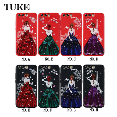 Case For Huawei P10 Phone Luxury Beauty Girl Rhinestone Soft Silicone TPU Case For Huawei P10 Back Covers Coque Etui Sklo