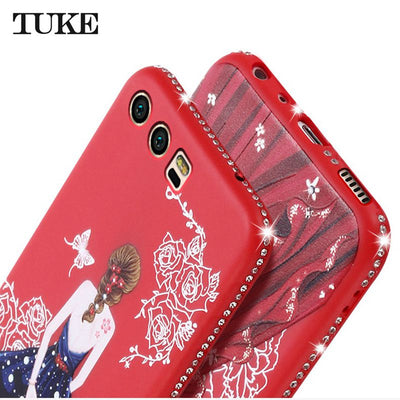 Case For Huawei P9 Lite Phone Luxury Beauty Girl Rhinestone Soft Silicone TPU Case For Huawei P9lite Back Covers Coque Etui Sklo