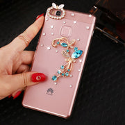 Case For Huawei P9 Series Blue Butterfly Flowers Rhinestone Back Cover Case For Huawei P9 / P9 Lite / P9 Plus Phone Cases