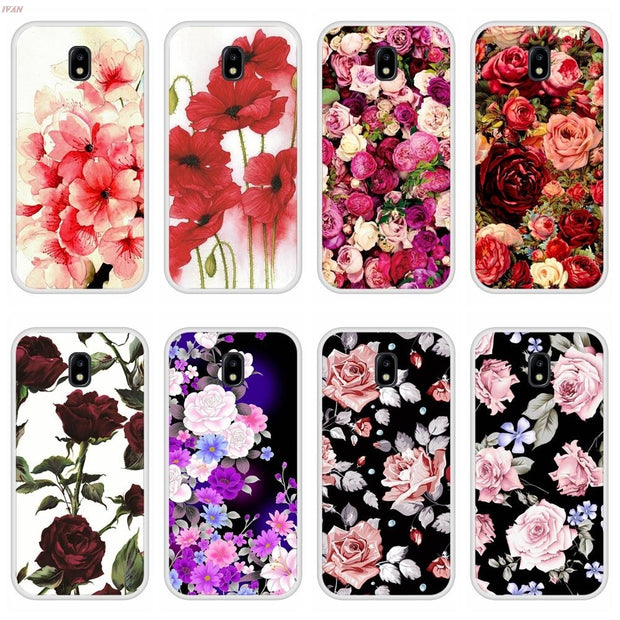Case For Samsung Galaxy J5 2017 Soft Silicone TPU Floral Flower Painted Phone Cover Coque For Samsung J5 2017 Case Cover