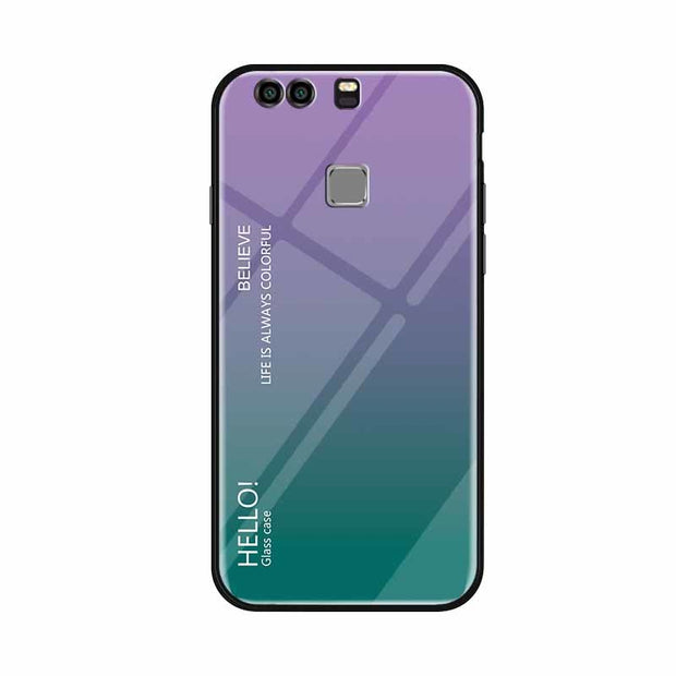 Case For Coque Huawei P9 Luxury Gradient Tempered Glass Shockproof Phone Cases For Huawei P9 P 9 Plus Fundas Slim Back Cover