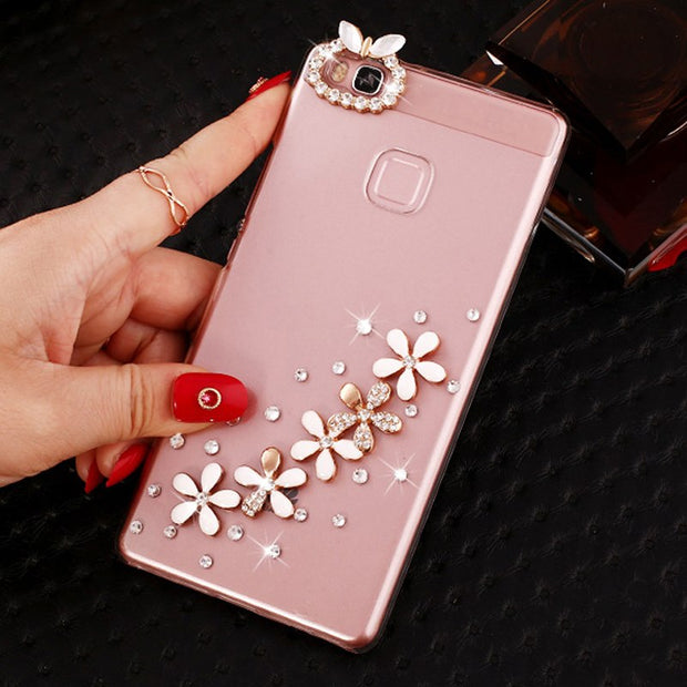 Case For Huawei Honor 9 Lite Cover 5.65 Inch Transparent Plastic Rhinestone Case Cover For Huawei Honor 9 Lite Phone Cases