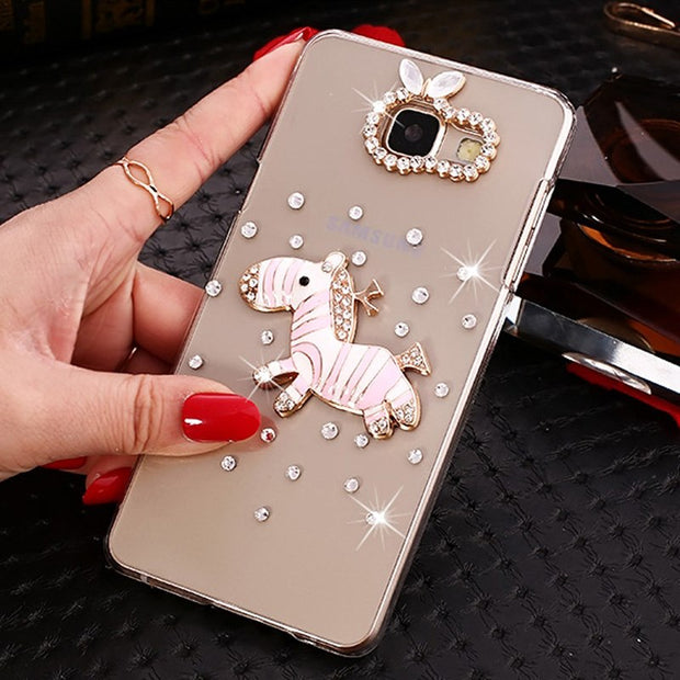 Case For Samsung Galaxy A5 2017 A520F A7 2017 A720F Blue Rhinestone Funda For Samsung Galaxy A5 2016 A510F A7 2016 A710F Cover
