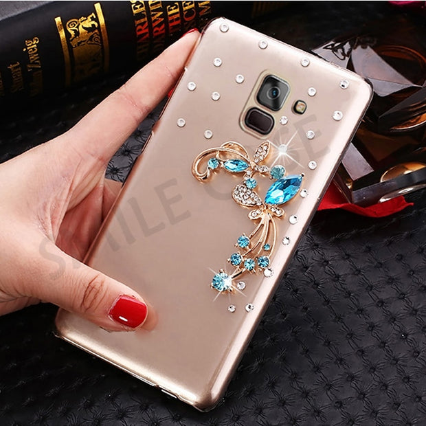 Case For Samsung Galaxy A6 A8 Plus 2018 Funda Capa Fashion Clear Plastic Rhinestone Case For Samsung Galaxy A8 A6 A6S 2018 Cover