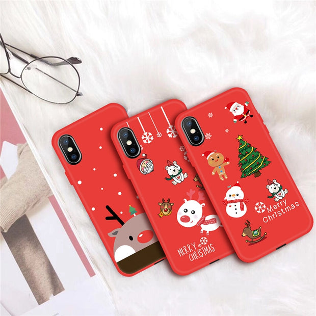 Christmas Snowman Santa Claus Phone Case For IPhone 7 6 6s 8 Plus 5 5S SE Cute Gift TPU Silicone Cover For IPhone X XR XS Max