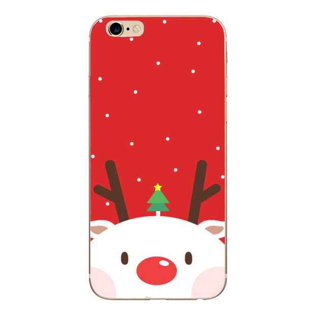 Claus Elk Phone Case For IPhone 6 6s 7 8 Plus Cute Cartoon Christmas Soft TPU Capa Ipone 6 S Capinha For IPhone X Xs 5 5S SE