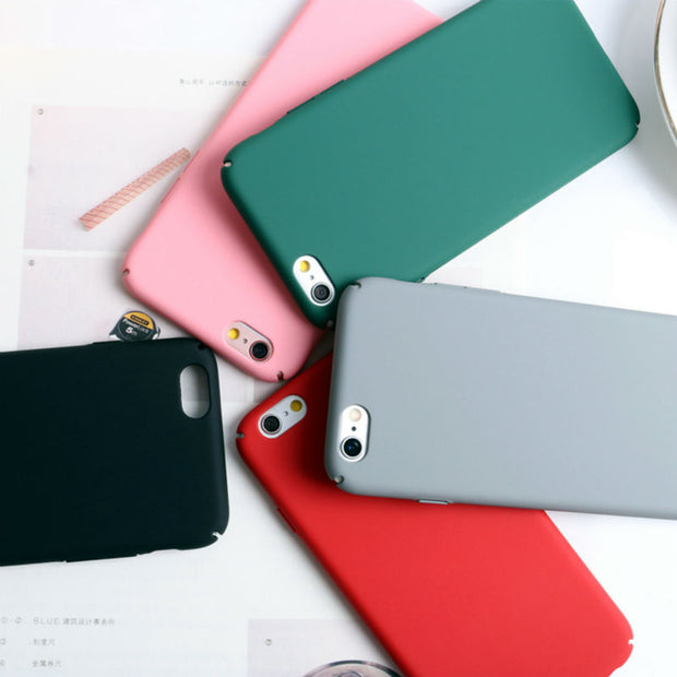 Colorful Solid Candy Colors Case For Apple IPhone 7 Plus 5 5S Se 6 6S 7 Cases Hard Matte Back Cover Shell Coque