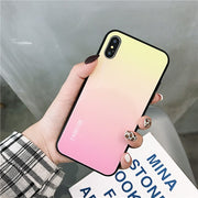Coque Case On Honor 7a Pro Cases For Huawei Honor 7a Pro 8X P20 Lite Pro Cover Back Hard Tempered Glass Silicone Black Gradient