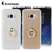 Cover Phone Case For Samsung Galaxy S8 Plus S8+ G9550 TPU Silicone Transparent SM S8 Shell Metal Ring Stent Flash Glitter Powder
