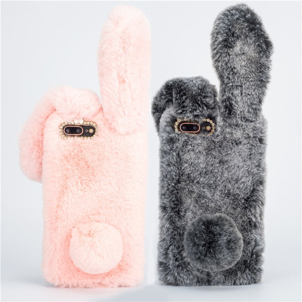 Cute 3D Rabbit Hairy Warm Cover For Samsung Galaxy J3 J5 J7 2017 Case J3 Pro J5 Pro J7 Pro 2017 J330 J530 Fur Plush Bunny Cases