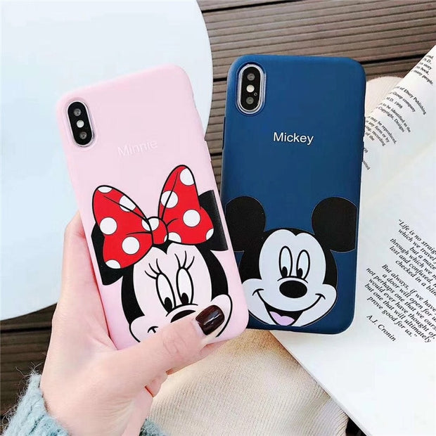 meet 11943 fd59f Cute Cartoon Mickey Minnie Mouse Couple Case For IPhone XS Max X XR XS Case  For IPhone 6 6S 7 8 Plus Matte Soft Silicon TPU Case