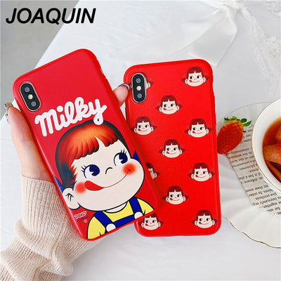 Cute Cartoon Strawberry Milk Girl Pattern Phone Case For IPhone X XR XS MAX Kawaii Soft TPU Matte Cases For Iphone 6 7 8 6s Plus