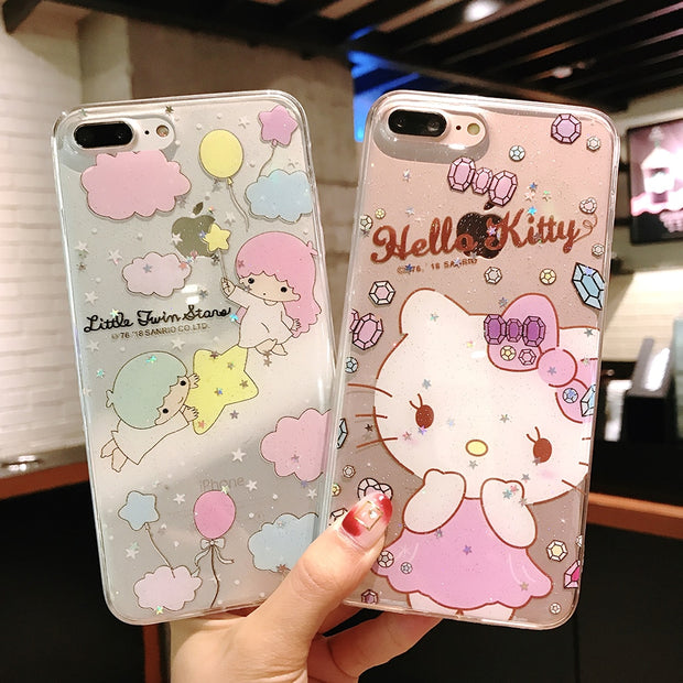 cheap for discount c21b4 e32e1 Cute Hello Kitty Cat Cartoon Unicorn Little Twin Stars Case For IPhone X 6  6s Plus 7 8 Plus Silicone Transparent Case Covers