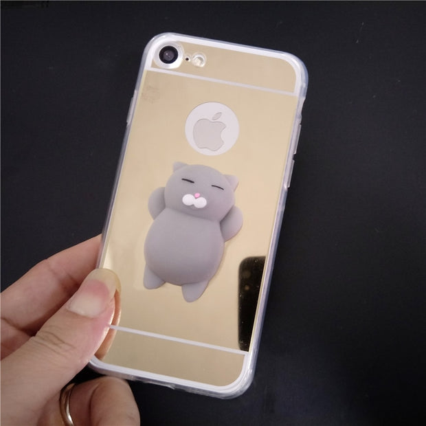 best service 59750 af2fa Cute Mirror Squishy Case Bunny Cat Silicone Phone Case For Samsung Galaxy  S9 S9Plus S3 S4 S5 S6 Edge Plus S7 Edge S8 S8Plus Note