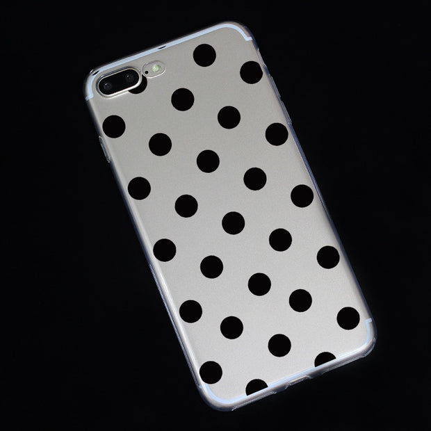 Cute Polka Dots Clear TPU Phone Cases For Iphone X Case Soft TPU Case For Iphone 6 6s 7 8 Plus 5 5s Phone Back Cover