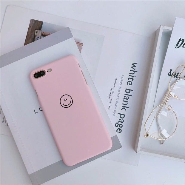 Cute Cartoon Smile Couple Phone Case For Iphone X 10 7 7puls Slim Matte Hard Back Cover For Iphone 6 6s 6plus Capa Coque Fundas