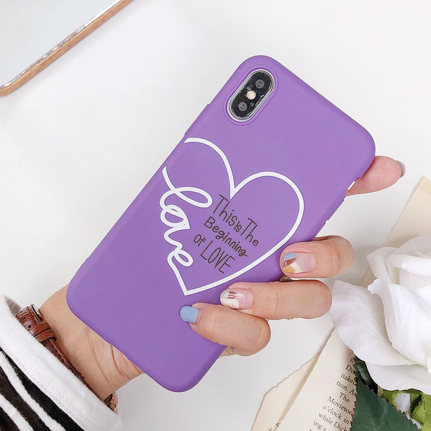 Cyato Love Heart Phone Case For Iphone XR XS Max X 8 7 6 6s Plus Case Fashion Soft TPU Cover For IPhone XS XR 8 7 Plus Cases