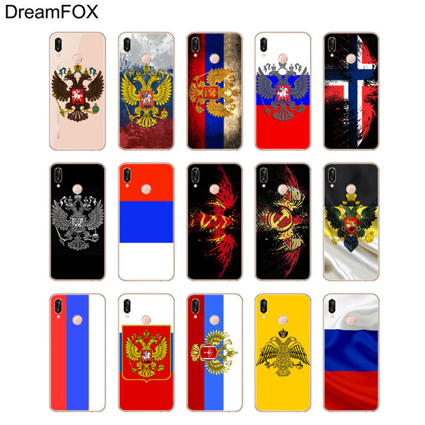 DREAMFOX M131 Russian Federation Flag Soft TPU Silicone Case Cover For Huawei Honor 6A 6C 7X 9 10 P20 Lite Pro P Smart
