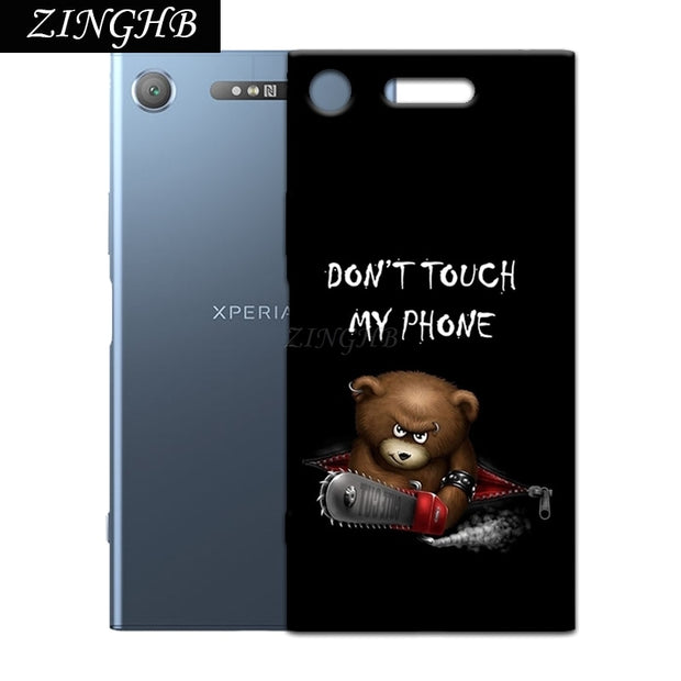 "'Don't Touch My Phone' Personal Customize Pattern Soft TPU Silicone Case For Sony Xperia XZ1 5.2"" Anti-Scratch Cover"