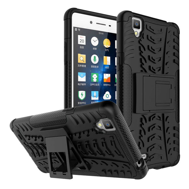 "Dual Layer Armor Case For OPPO F1 A35 5.0"" Hard PC Silicone Shockproof Anti Slip Phone Cover With Kickstand For OPPO F1 A35 @"
