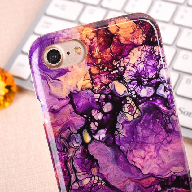 EVANKALX For IPhone 7 8 Case Fashion Full Edge Protection Marble Stone Colorful Soft Coque Phone Case For IPhone 6 6s 8 7 Plus