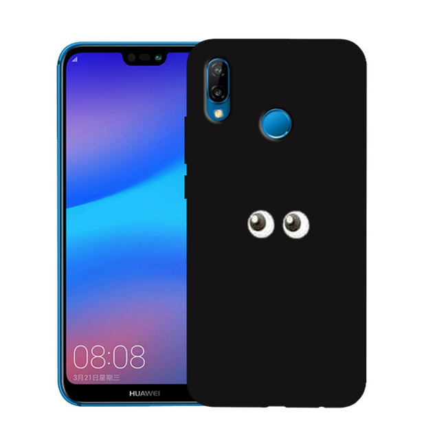 'Eyes Heart Queen King' Custom Print Soft Black Silicone Case For Huawei P Smart 2019 P20 Lite P30 Pro Anti-Fingerprint Cover