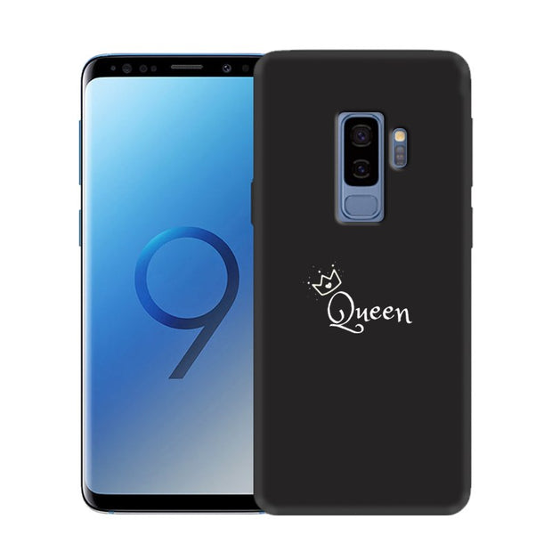 'Eyes Heart Queen King' Custom Print Soft Black Silicone Case For Samsung Galaxy S10 Lite S9 S10 Plus S8 Anti-Fingerprint Cover