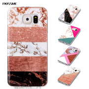 FKISSME Glitter Marble Case For Samsung Galaxy S6 Glossy Geometry Stone Pattern Soft TPU Cover For Samsung S6 Edge Phone Cases